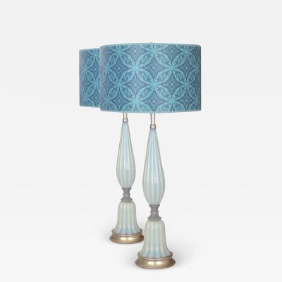 Barovier Toso Pair of Vintage Pale Blue White Opaline Barovier Toso Table Lamps