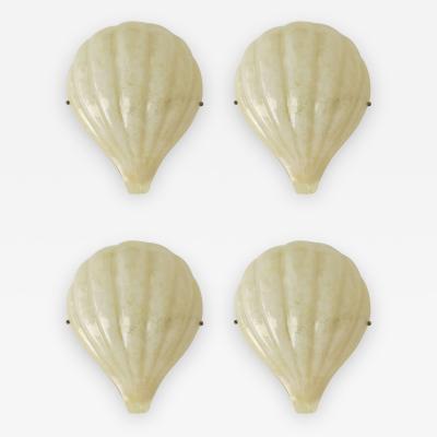 Barovier Toso Rare Set of Four Barovier e Toso Shell Sconces
