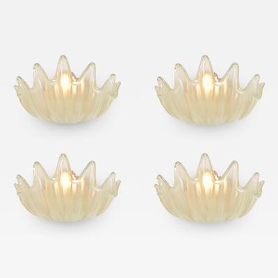 Barovier Toso Rare Set of Four Clam Shell Sconces