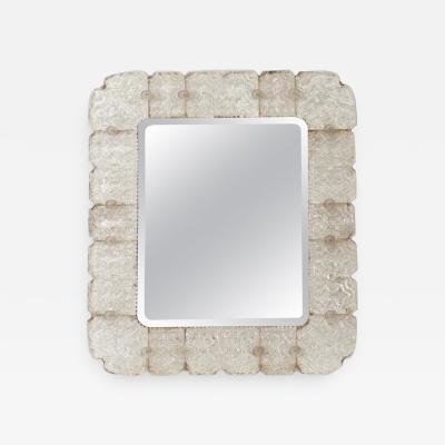 Barovier Toso Rare murano glass textured beveled mirror attributed to Barovier e Toso