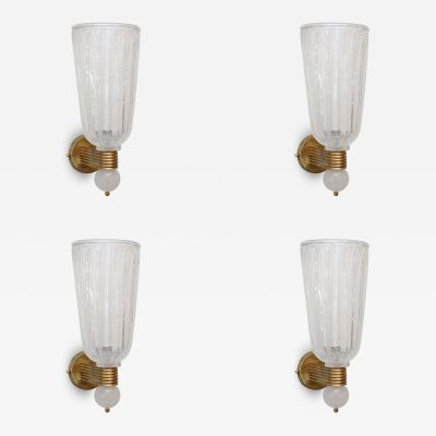 Barovier Toso Set of Four Barovier and Toso Wall Lights Italy