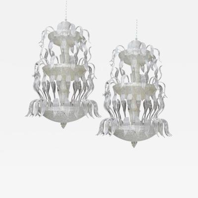 Barovier Toso Two Exceptional Barovier and Toso Glass Chandeliers