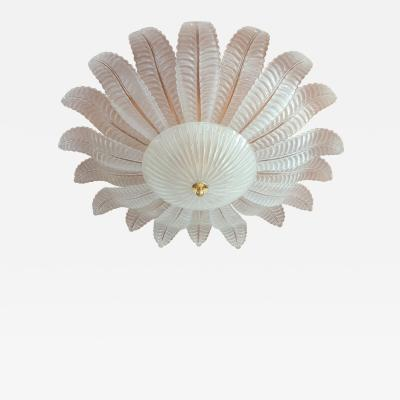 Barovier Toso Very Large Clear Murano Glass Mid Century Modern Flush Mount Barovier Italy 70s