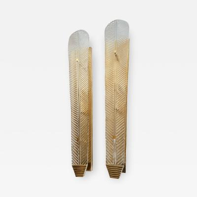 Barovier Toso Very long Murano clear glass leave sconces Mid Century Modern By Barovier 1960