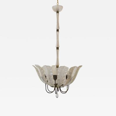 Barovier Toso Vintage Glass Leaves Chandelier By Barovier e Toso