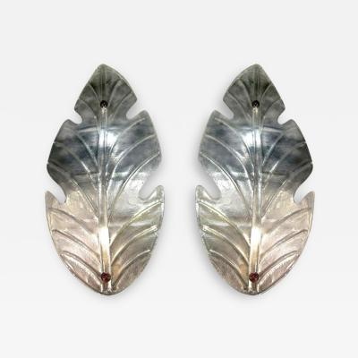 Barovier Toso Vintage Italian Pair of Huge Leaf Shaped Murano Glass Wall Lights