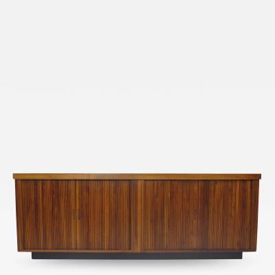 Barzilay Furniture Manufacturing Mid Century Barzilay Tambour Door Walnut Credenza