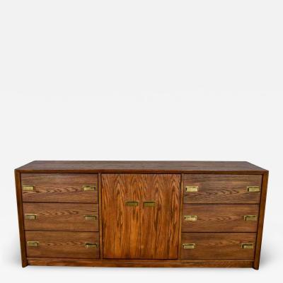 Bassett Furniture Bassett modern credenza buffet dresser in medium tone finish