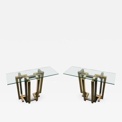Belgo Chrome Pair Of Console Table Brass And Chrome By Belgo Chrome Belgium 1980s