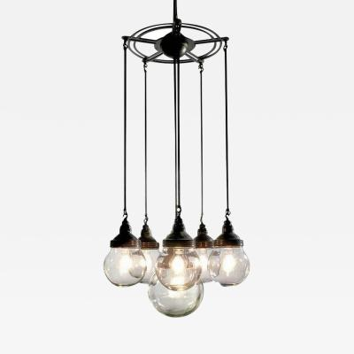 Benjamin Electric Manufacturing Company Six Globe Armory Chandelier