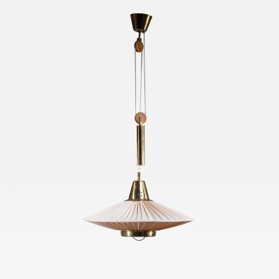 Bergboms Hans Bergstrom height adjustable brass and fabric pendant for Bergboms