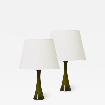 Bergboms Mod Pair of Lamps in Smoky Olive Glass by Bergboms
