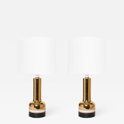 Bergboms PAIR OF SWEDISH MID CENTURY GOLD CERAMIC LAMPS FROM BERGBOMS