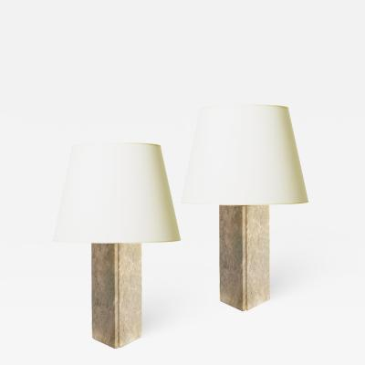 Bergboms Pair of Architectonic Lamps in Gray Marble Attributed to Bergboms