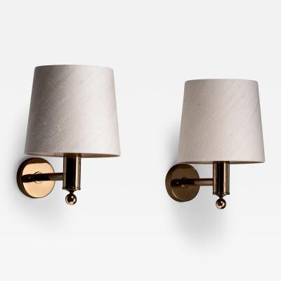 Bergboms Pair of Bergboms brass wall lamps Sweden
