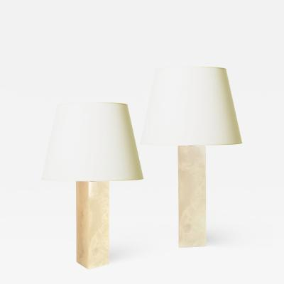 Bergboms Pair of Ivory Onyx Table Lamps by Bergboms
