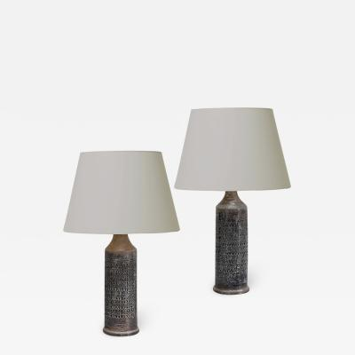 Bergboms Pair of Lamps With Intaglio Design in Gray by Bitossi for Bergbomns