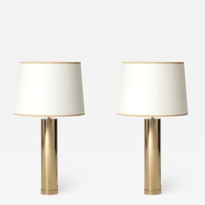 Bergboms Pair of Large Midcentury Brass Table Lamps by Bergbom