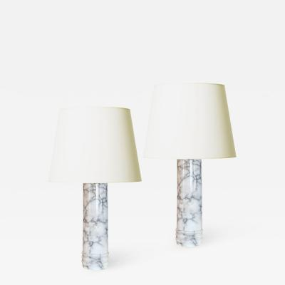 Bergboms Pair of Marble Table Lamps by Bergboms