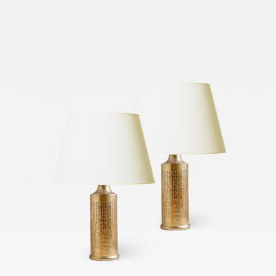 Bergboms Pair of table lamps in gold luster by Bergboms