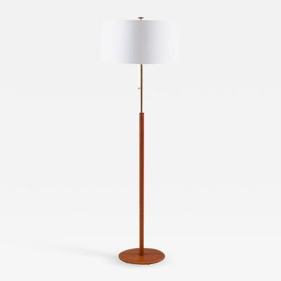 Bergboms Scandinavian Midcentury Floor Lamp in Brass and Leather by Bergboms Sweden