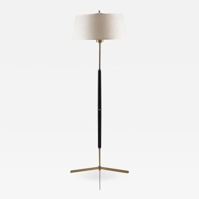 Bergboms Scandinavian Midcentury Floor Lamp in Brass and Wood by Bergboms Sweden