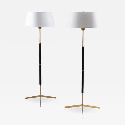 Bergboms Scandinavian Midcentury Floor Lamps in Brass and Wood by Bergboms Sweden
