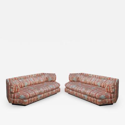 Bernhardt Furniture Company Matching Pair of Hexagonal Mid Century Modern Sofas by Bernhardt Plinth Bases