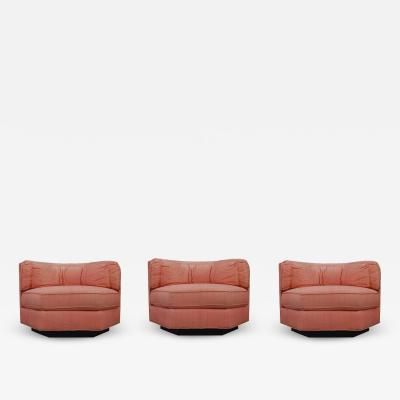 Bernhardt Furniture Company Trio of Hexagonal Mid Century Modern Club Chairs by Bernhardt Plinth Bases