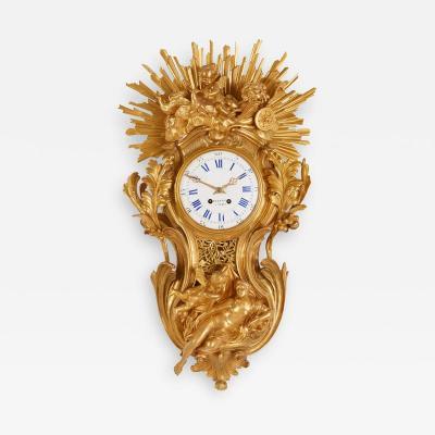 Bertoud Large gilt bronze antique French cartel clock by Bertoud