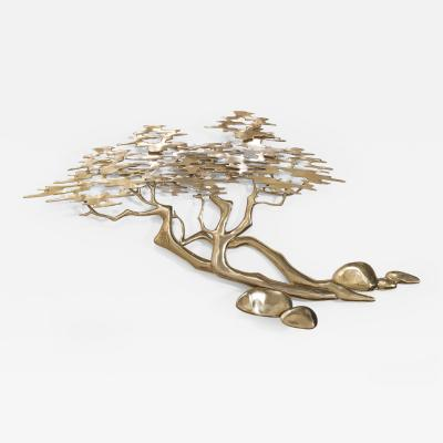 Bijan A Polished Brass Japanese Style Tree Wall Sculpture by Bijan 1980