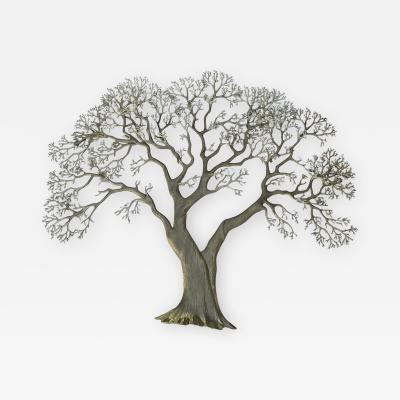 Bijan Huge Brass Tree Wall Sculpture