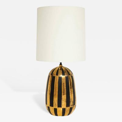 Bitossi Bitossi Ceramic Table Lamp Stripes Gold Black Signed Italy 1960s