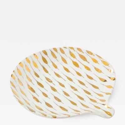 Bitossi Bitossi Ceramic Tray Dish Gold Piume Feather Signed Italy 1960s
