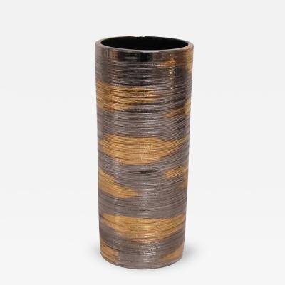 Bitossi Bitossi Ceramic Vase Brushed Metallic Gold Platinum Italy 1960s
