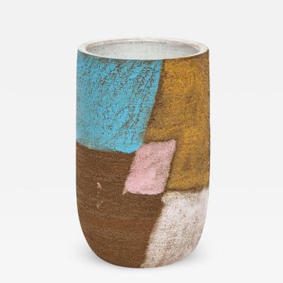 Bitossi Bitossi Ceramic Vase Patchwork Pink Blue Black Signed Italy 1960s