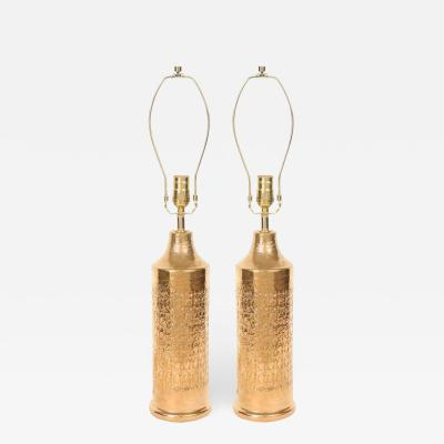 Bitossi Bitossi Gold Glazed Incised Ceramic Lamps