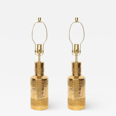 Bitossi Bitossi Incised 22 Karat Gold Glazed Lamps
