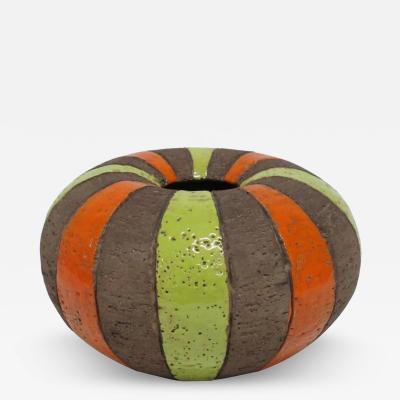 Bitossi Bitossi Italian Ceramic Vase Stripes Signed Italy 1960s