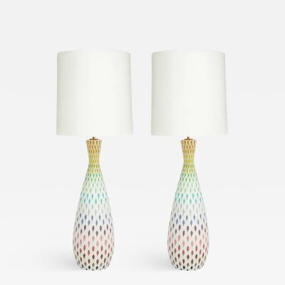 Bitossi Bitossi Londi Ceramic Table Lamps Piume Feather Multi Color Signed Italy 1960s