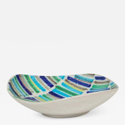 Bitossi Bitossi Raymor Bagni Tray Bowl Stripes Blue Signed Italy 1960s