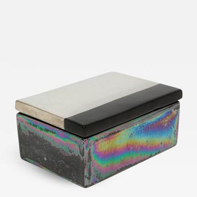 Bitossi Bitossi Raymor Ceramic Box Iridescent Metallic Silver Black Signed Italy 1960s