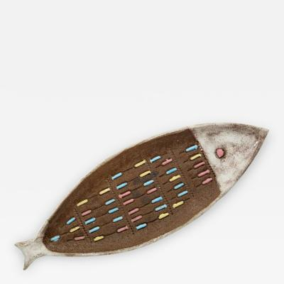 Bitossi Bitossi Raymor Ceramic Fish Tray Terracotta White Signed Italy 1950s