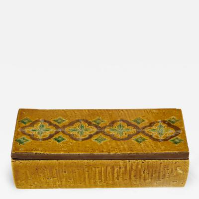 Bitossi Bittosi Ochre Glazed Incised Ceramic Box