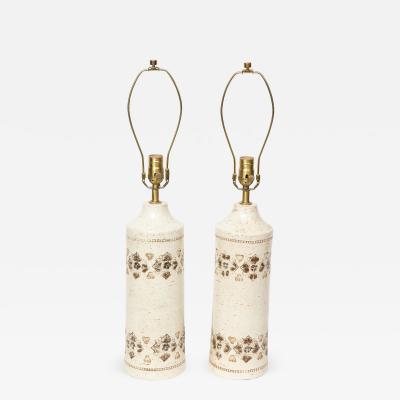 Bitossi Bone White Glazed Ceramic Lamps by Bitossi