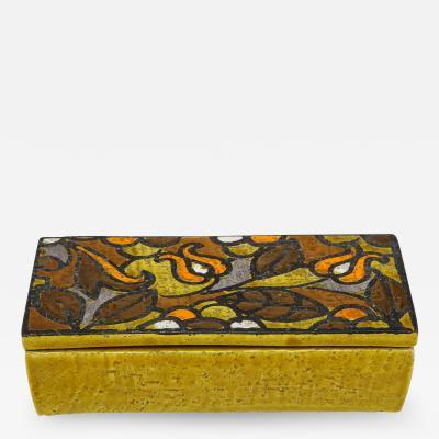 Bitossi Btossi Floral Mustard Yellow Ceramic Box Signed