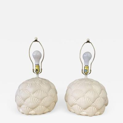 Bitossi Italian White Ceramic Pair of Table Lamps with a Seashell Motif Mid Century