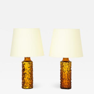 Bitossi Pair of Amber Bitossi Lamps