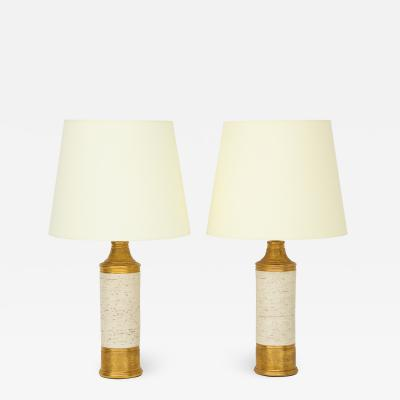 Bitossi Pair of Bitossi Birch Tree Gold Ceramic Lamps