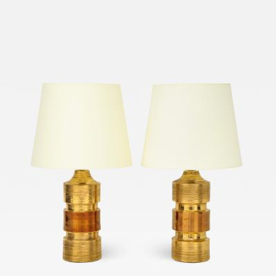 Bitossi Pair of Gold Amber Ceramic Bitossi Lamps
